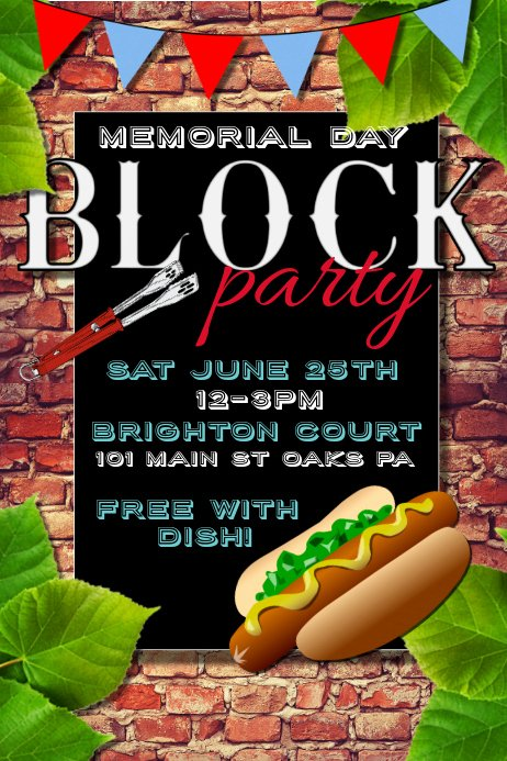 Block Party Flyer Templates Awesome Memorial Day Template