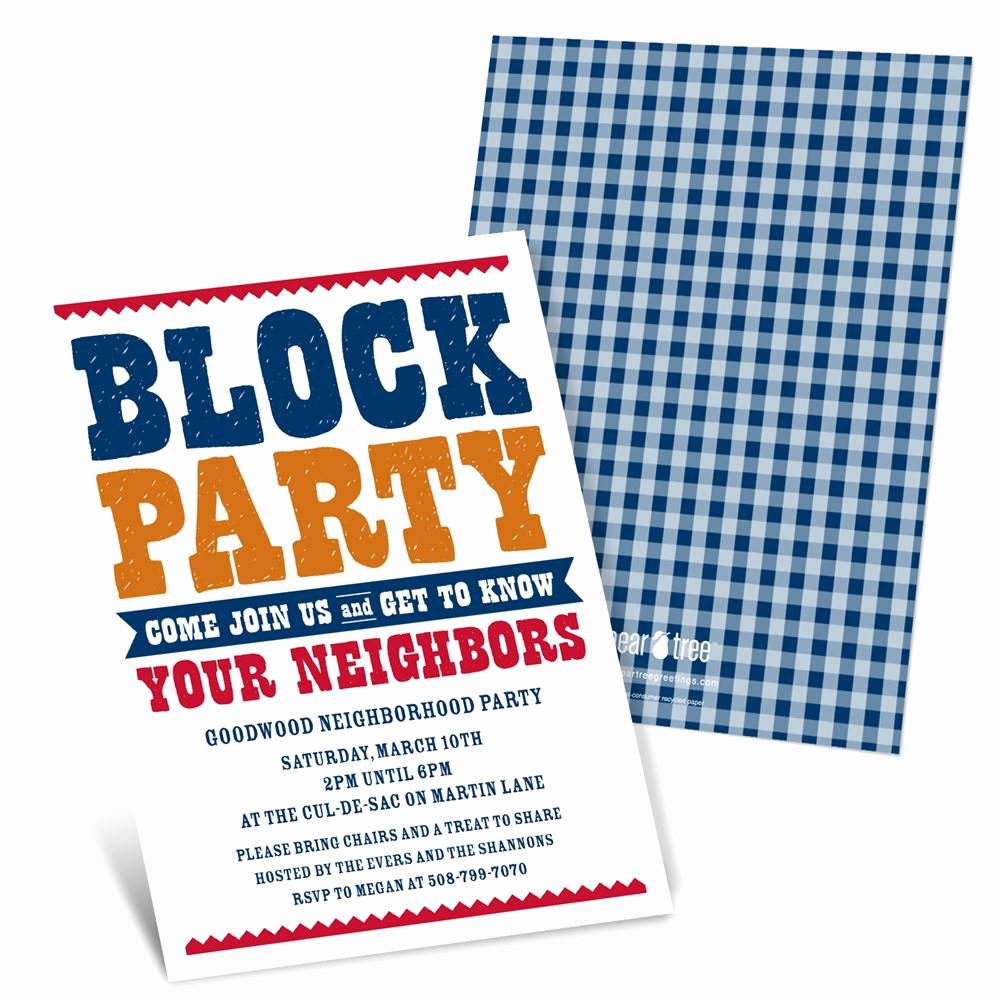 Block Party Flyer Templates Free Beautiful Giddy with Gingham Neighborhood Block Party Invitations