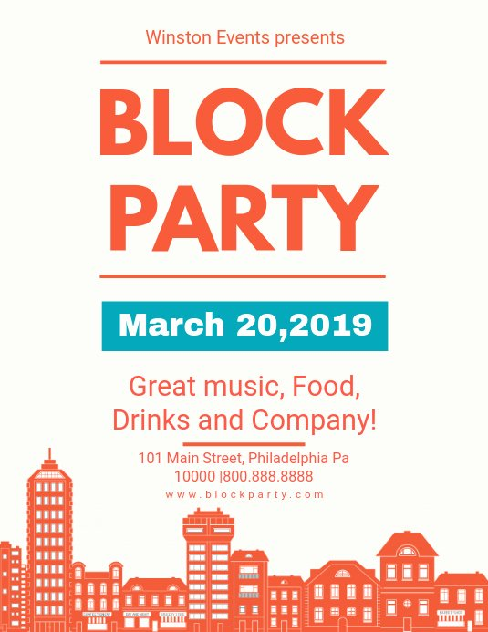 Block Party Flyer Templates Free Luxury Modern House Block Party Flyer Template
