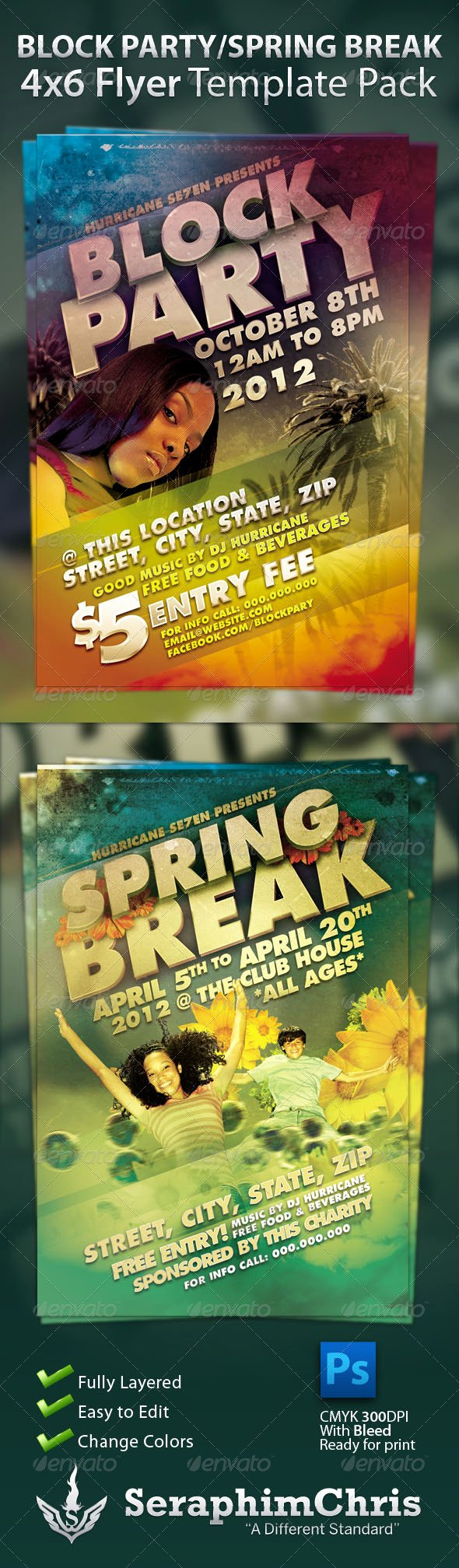 Block Party Flyer Templates New Block Party and Spring Break Flyer Template Pack by Seraphimchris