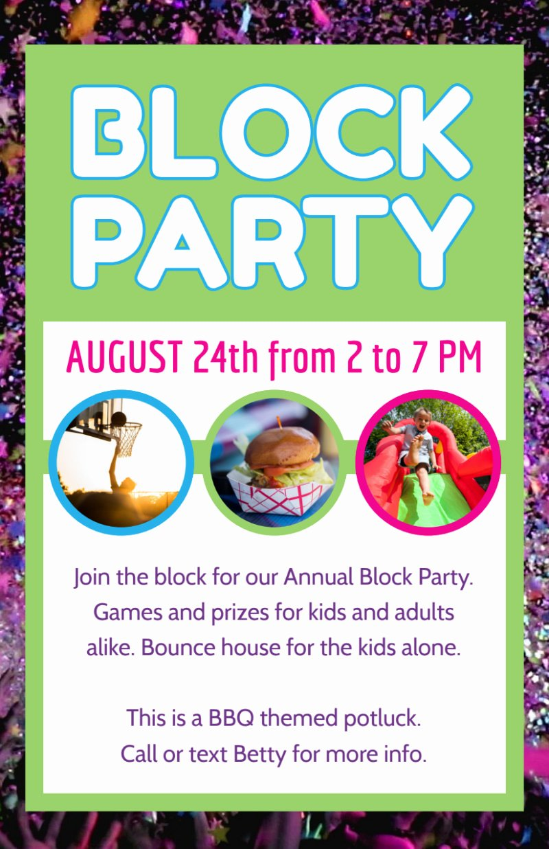 Block Party Flyers Templates Elegant Fun Block Party Flyer Template