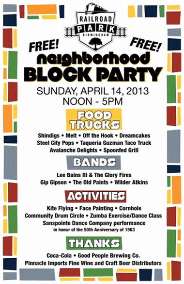 Block Party Flyers Templates Inspirational Railroad Park Planning Neighborhood Block Party for April 14
