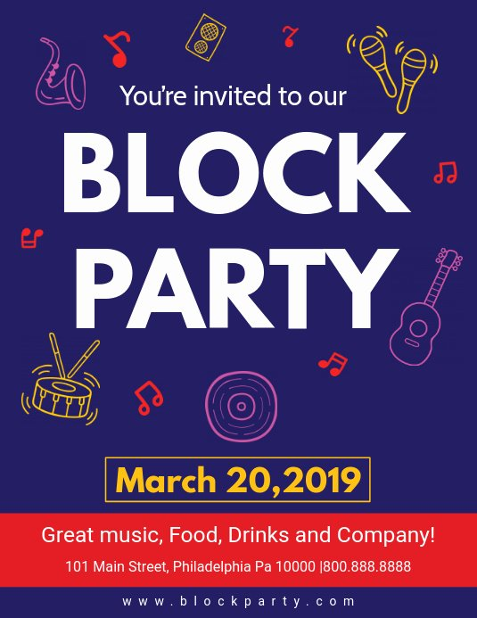 Block Party Flyers Templates Unique Dark Blue Block Party Flyer Template