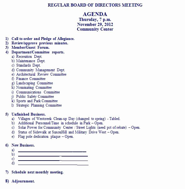 Board Of Directors Meeting Agenda Awesome Agenda for November 29 2012 Board Of Directors Meeting
