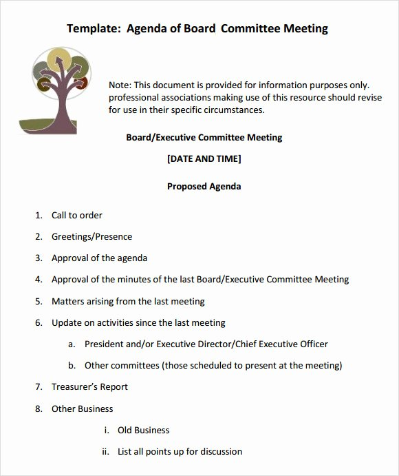 Board Of Directors Meeting Agenda Beautiful Free 11 Sample Board Meeting Agenda Templates In Pdf