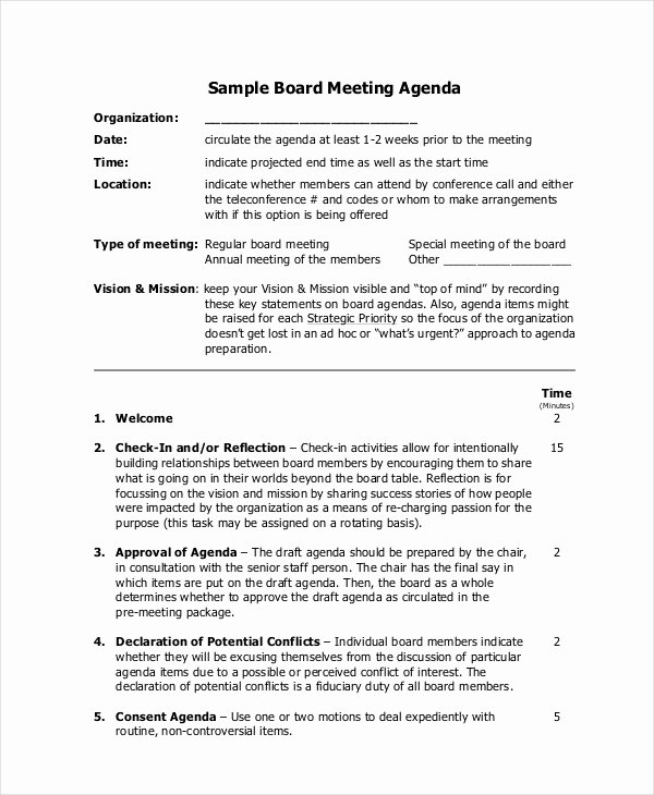 Board Of Directors Meeting Agenda Elegant Meeting Agenda Template 10 Free Word Pdf Documents Download