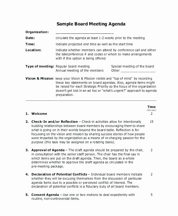 Board Of Directors Meeting Agenda Fresh Board Of Directors Template