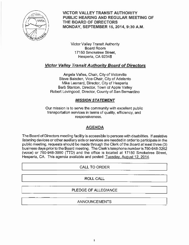 Board Of Directors Meeting Agenda Fresh Vvta Board Directors Meeting Agenda September 15 2014