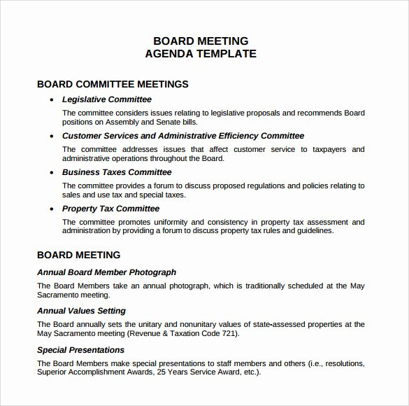 Board Of Directors Meeting Agenda Inspirational Free 11 Sample Board Meeting Agenda Templates In Pdf