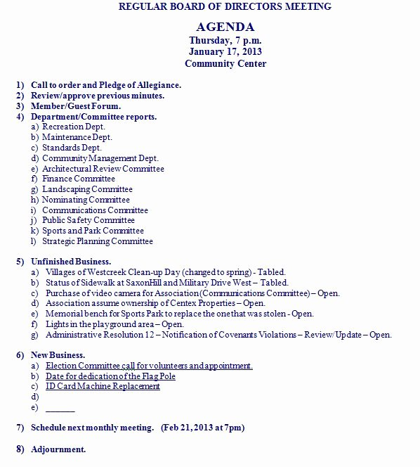 Board Of Directors Meeting Agenda Unique Bod Agenda for January 17 2013