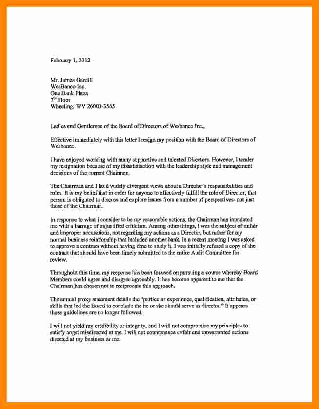 Board Of Directors Resignation Letter Best Of 6 Board Of Directors Resignation Letter