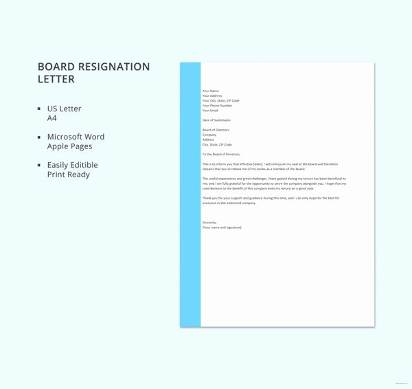 Board Of Directors Resignation Letter Elegant 6 Board Resignation Letter Template 6 Free Word Pdf format Download