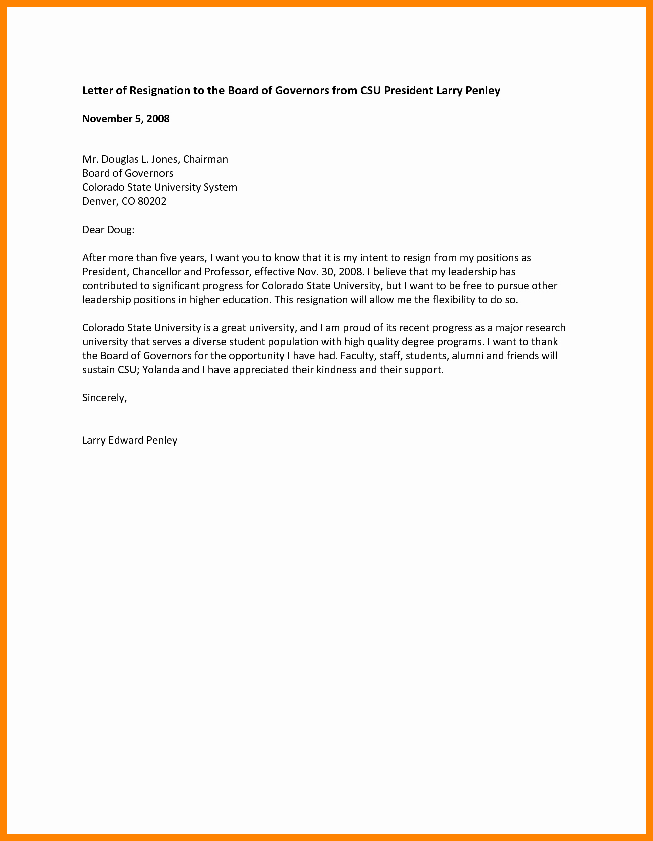 Board Of Directors Resignation Letter Inspirational 5 Board Resignation Letter Sample Non Profit