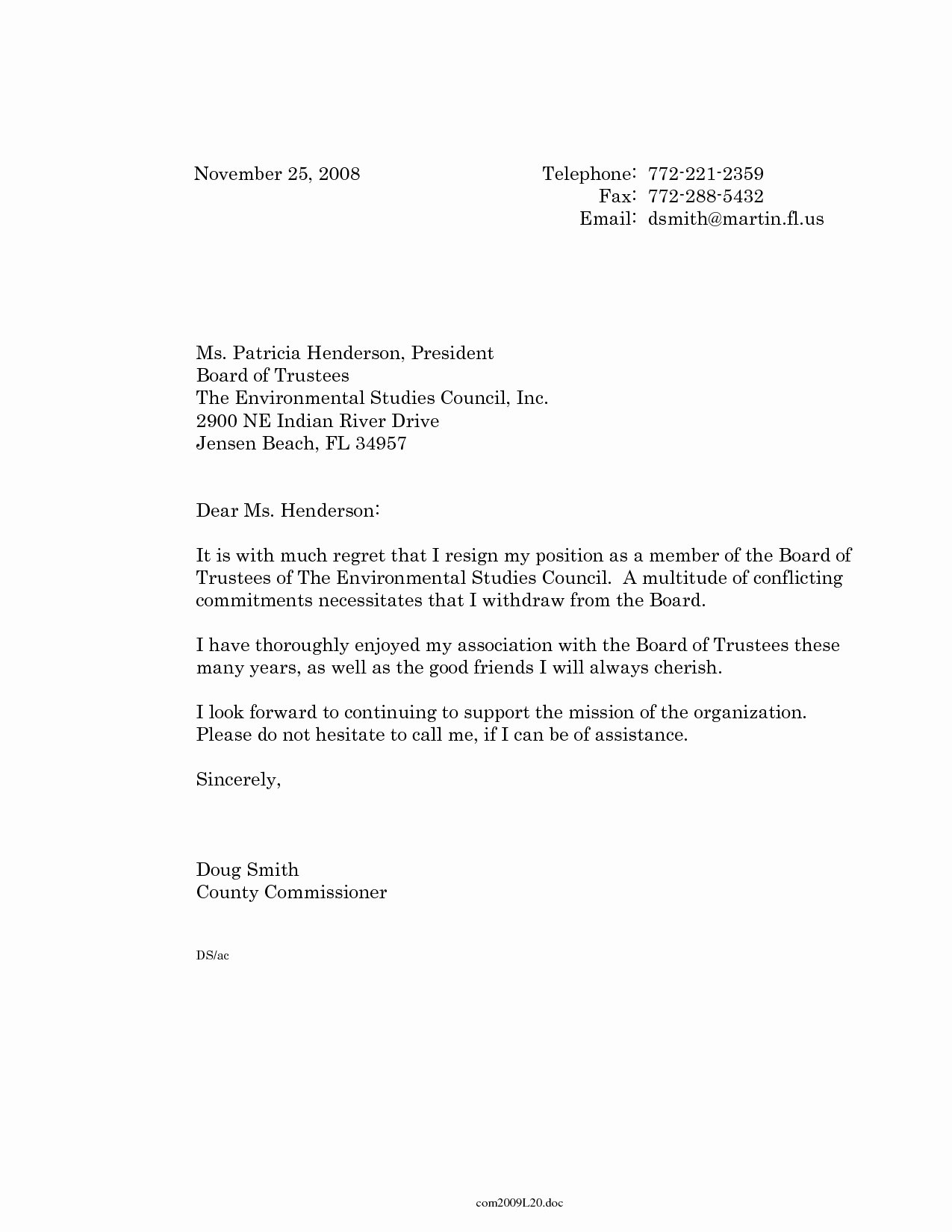Board Of Directors Resignation Letter Lovely Board Member Removal Letter Template Examples