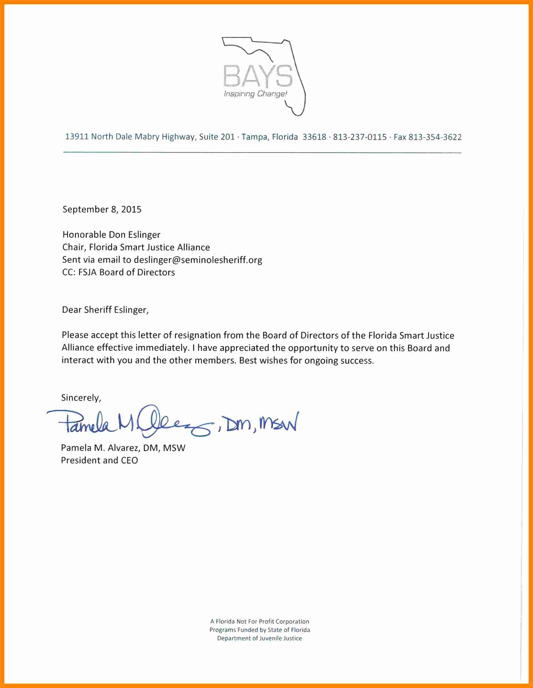 Board Of Directors Resignation Letter Unique 5 Board Resignation Letter Sample Non Profit