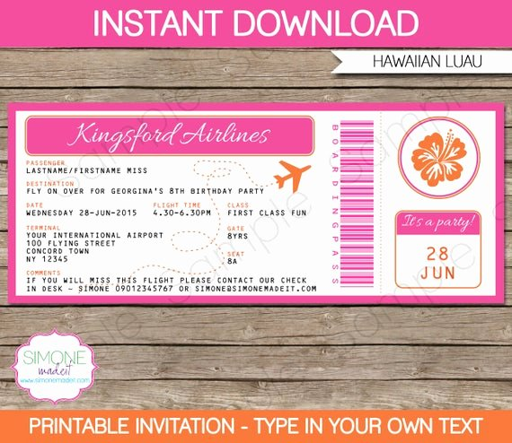 Boarding Pass Invitation Template Free Awesome Luau Boarding Pass Invitation Template Birthday Party