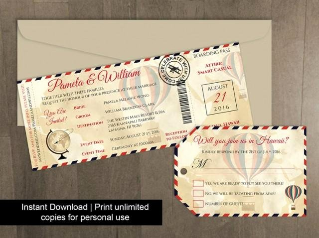 Boarding Pass Invitation Template Free Beautiful Diy Printable Wedding Boarding Pass Luggage Tag Template Weddbook