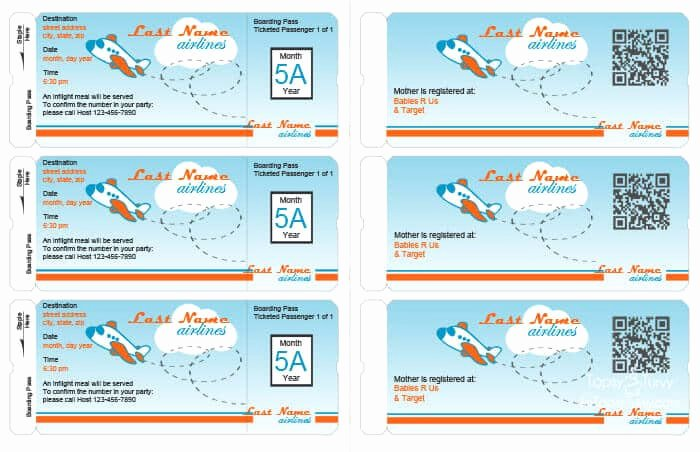 Boarding Pass Invitation Template Free Best Of Airplane Party Printables
