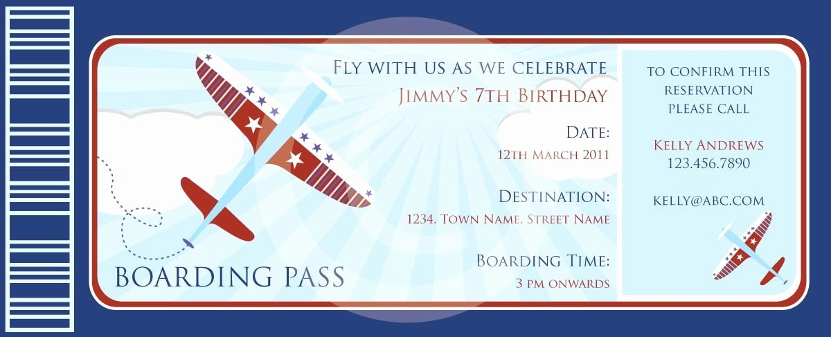 Boarding Pass Invitation Template Free Best Of Boarding Pass Airplanes Invitation Diy Printable Party