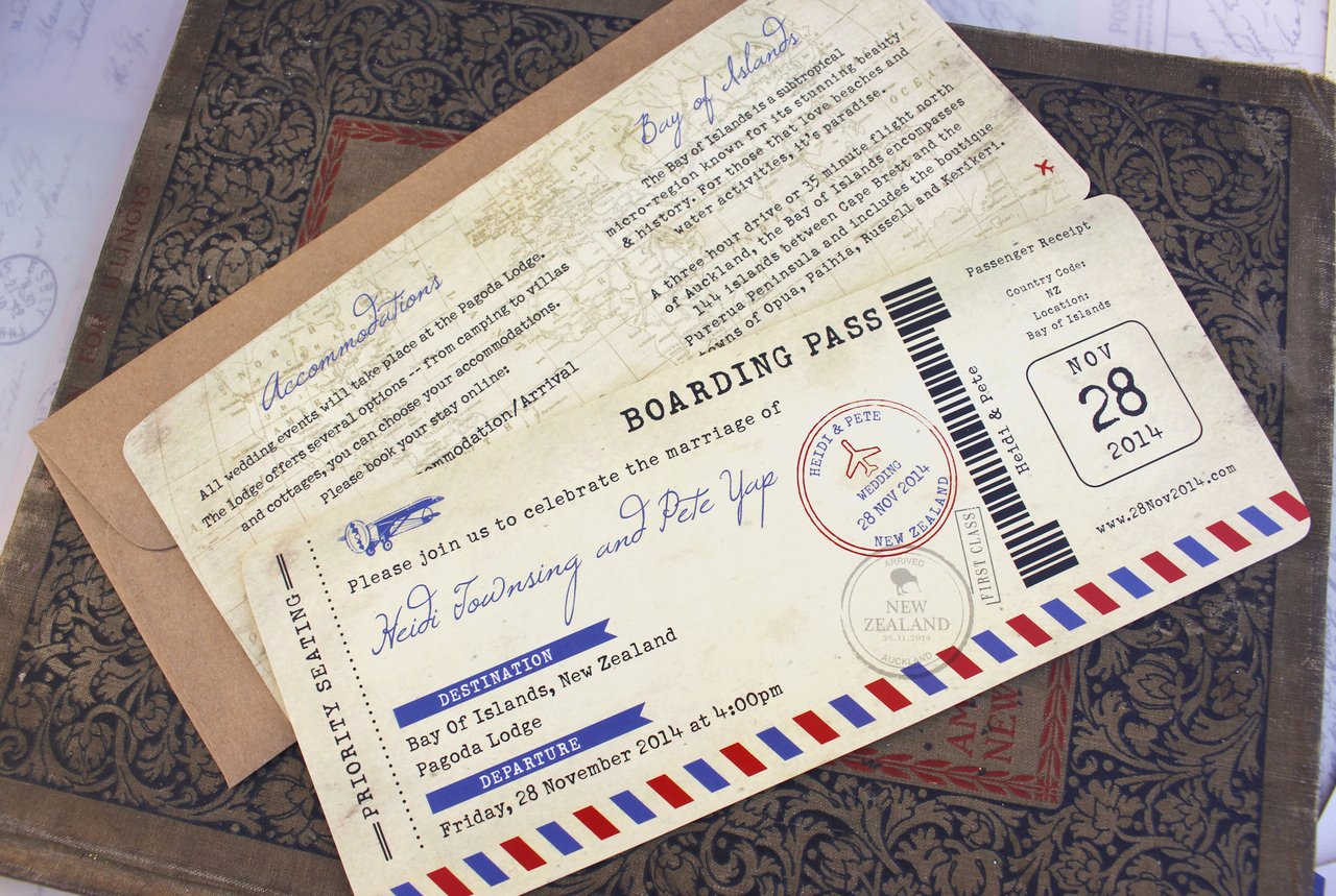 Boarding Pass Invitation Template Free Inspirational Vintage Air Mail Boarding Pass Wedding Invitation New Zealand