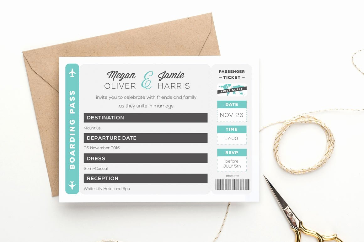 Boarding Pass Invitation Template Free New Boarding Pass Wedding Invitation Wedding Templates Creative Market