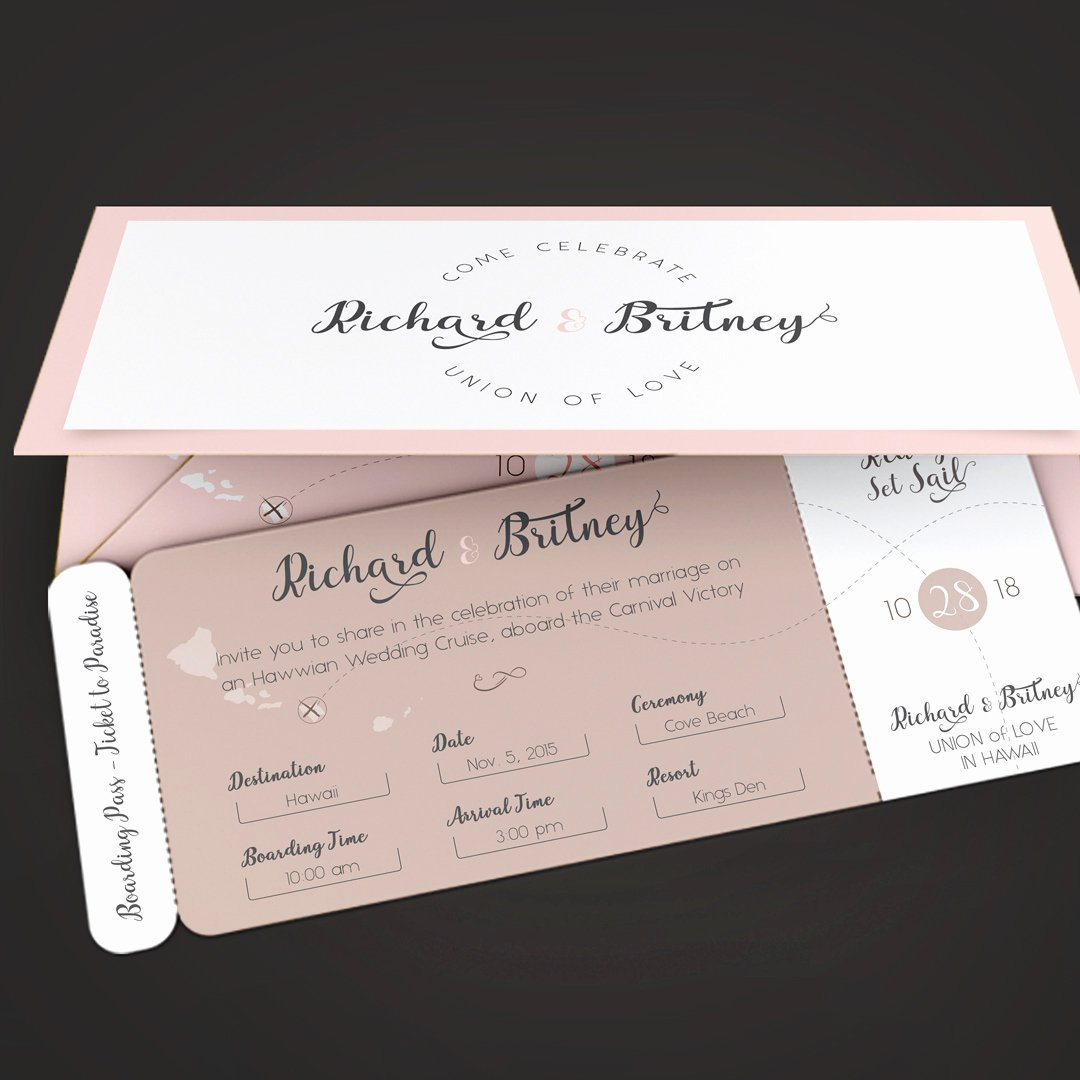 Boarding Pass Invitation Template Inspirational Pinky Wedding Boarding Pass Invitation Template On Behance