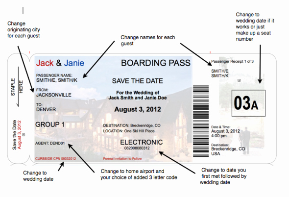 Boarding Pass Invitation Template Lovely Boarding Pass Save the Date A Little More Realistic