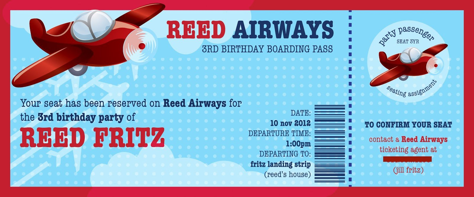 Boarding Pass Invitation Template Luxury Airplane Birthday Party Create Craft Love