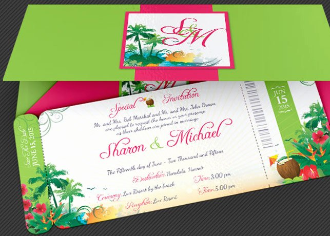 Boarding Pass Invitation Template Luxury Wedding Hawaiian Boarding Pass Invitation Template
