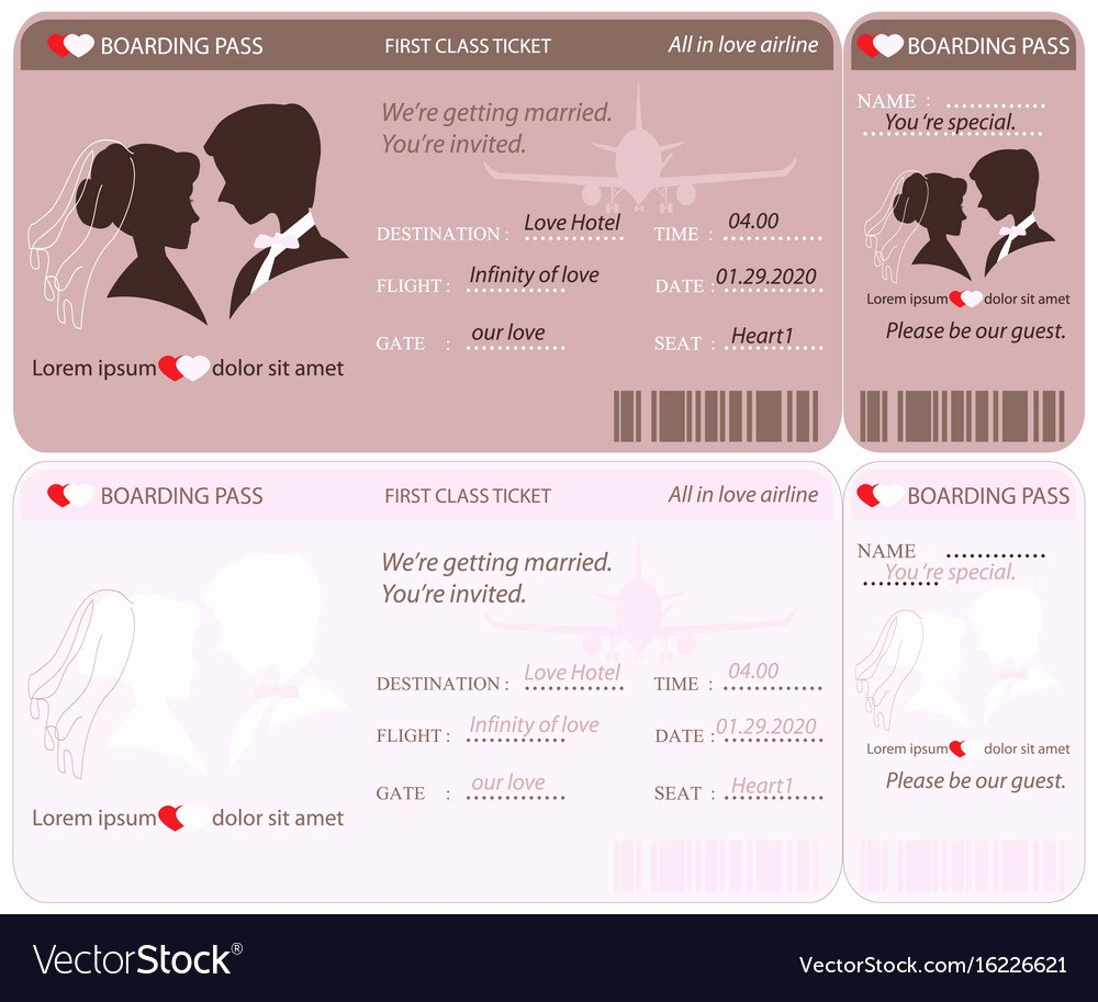Boarding Pass Invitation Template New Boarding Pass Ticket Wedding Invitation Template Vector Image