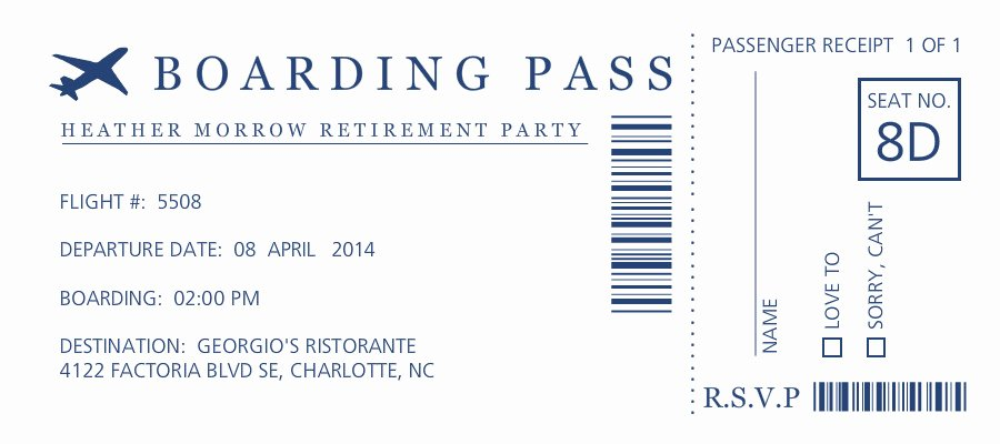 Boarding Pass Invitation Template Unique Retirement Invitations Boarding Pass Retirement Party Invitation
