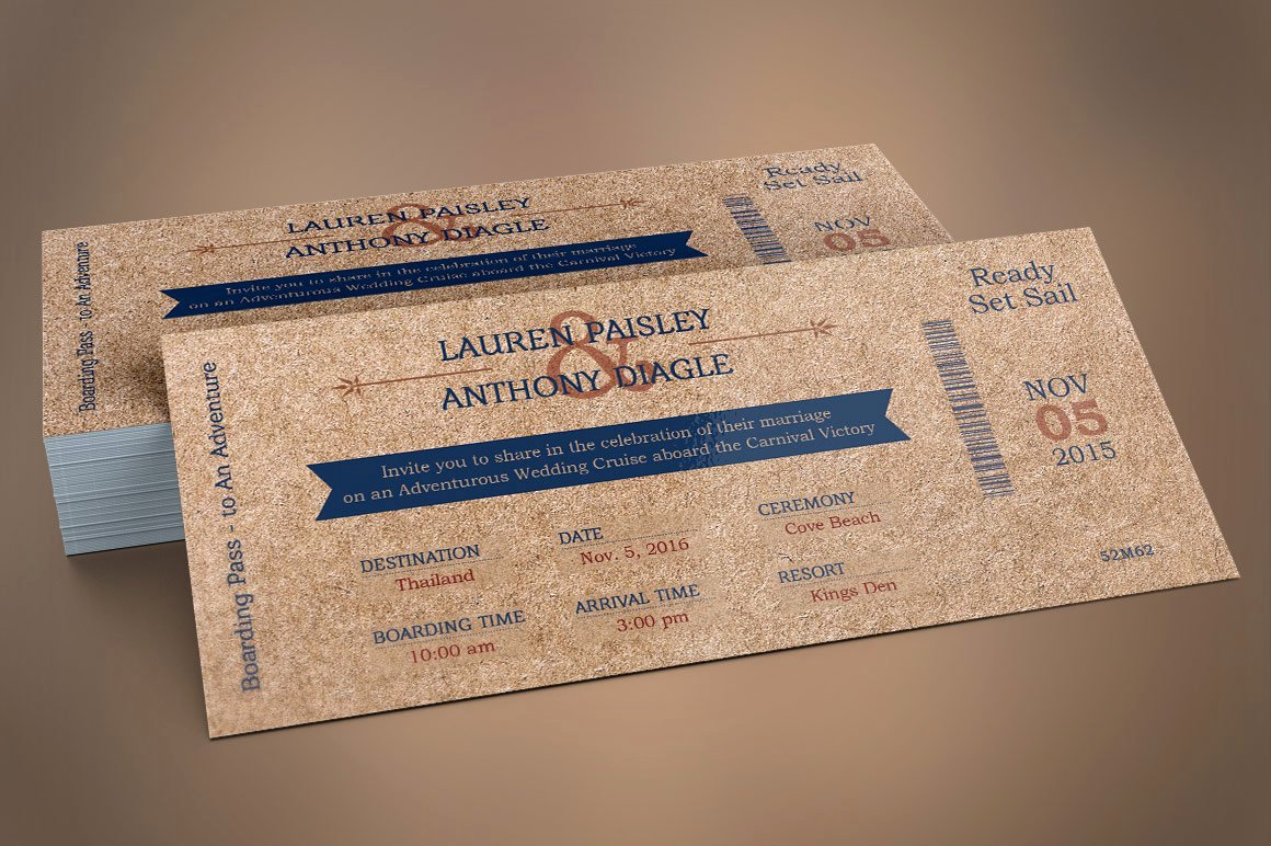 Boarding Pass Template Photoshop Awesome Cardboard Boarding Pass Invitation Wedding Templates