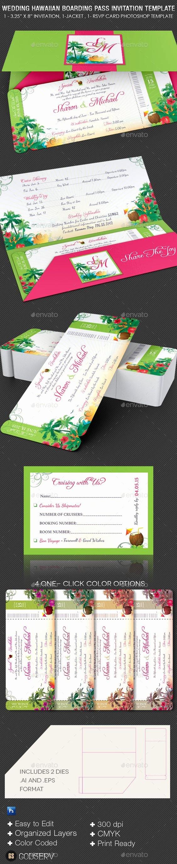 Boarding Pass Template Photoshop Unique Wedding Hawaiian Boarding Pass Invitation Template