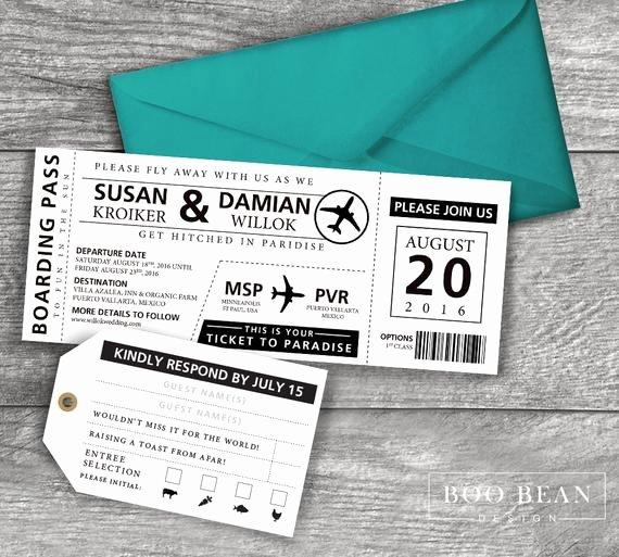 Boarding Pass Wedding Invitations Template Best Of Destination Boarding Pass Invitation Printable Invitation