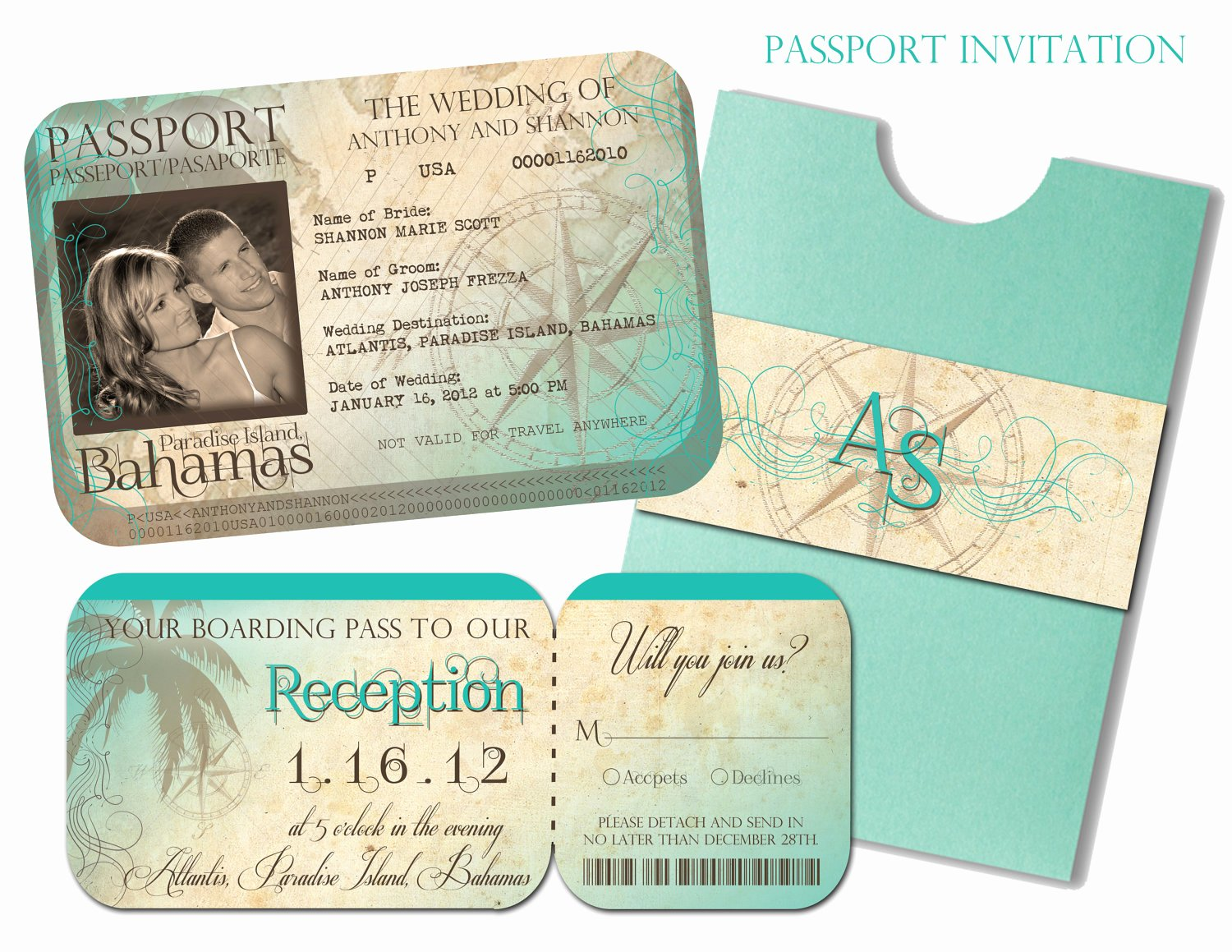 Boarding Pass Wedding Invitations Template Fresh Passport Wedding Invitation and Boarding Pass Reception and