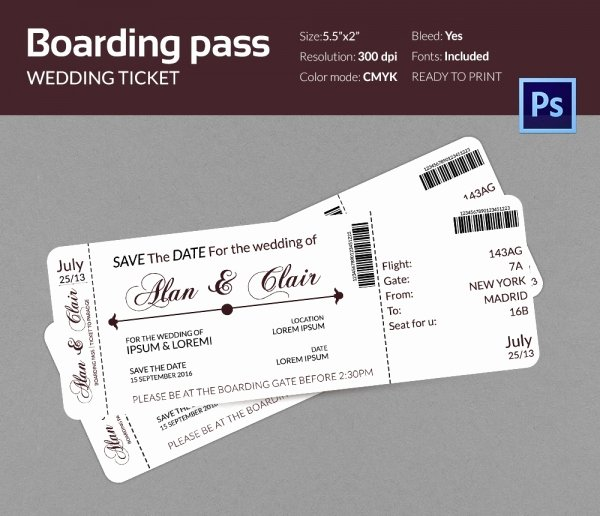 Boarding Pass Wedding Invitations Template Inspirational Boarding Pass Invitation Template 36 Free Psd format Download
