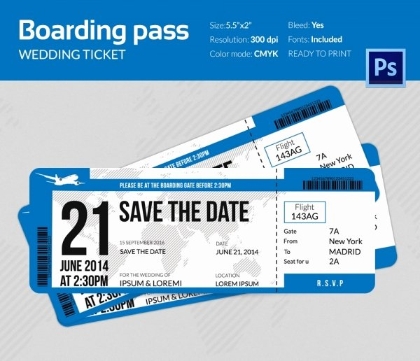 Boarding Pass Wedding Invitations Template Luxury Boarding Pass Invitation Template 36 Free Psd format Download