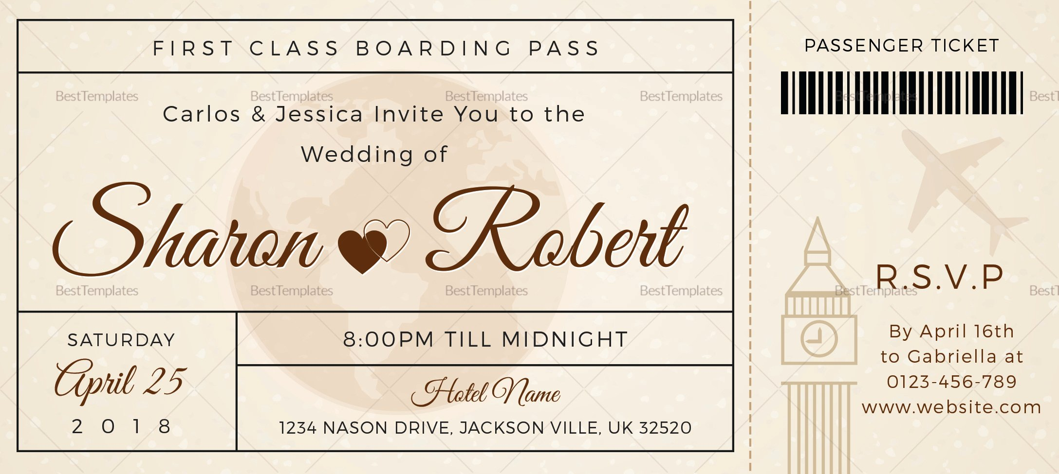 Boarding Pass Wedding Invitations Template New Wedding Boarding Pass Invitation Ticket Design Template In Psd Word Publisher Pages