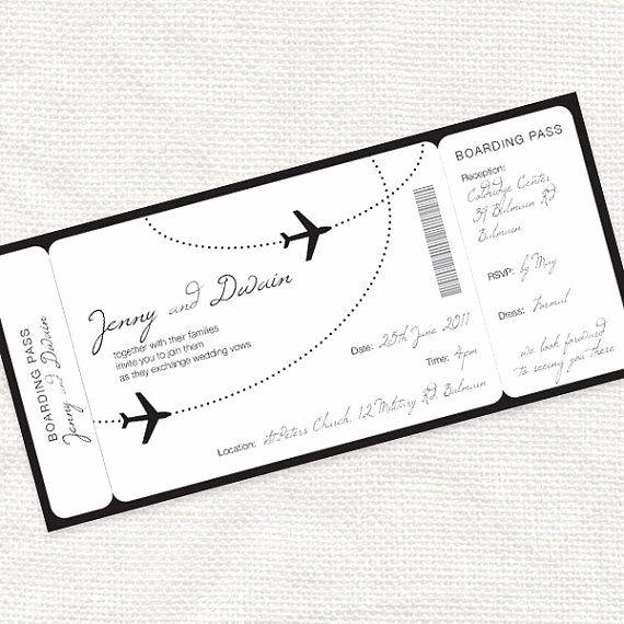 Boarding Pass Wedding Invitations Template Unique E Fly with Me Airplane Boarding Pass Invitation Printable File