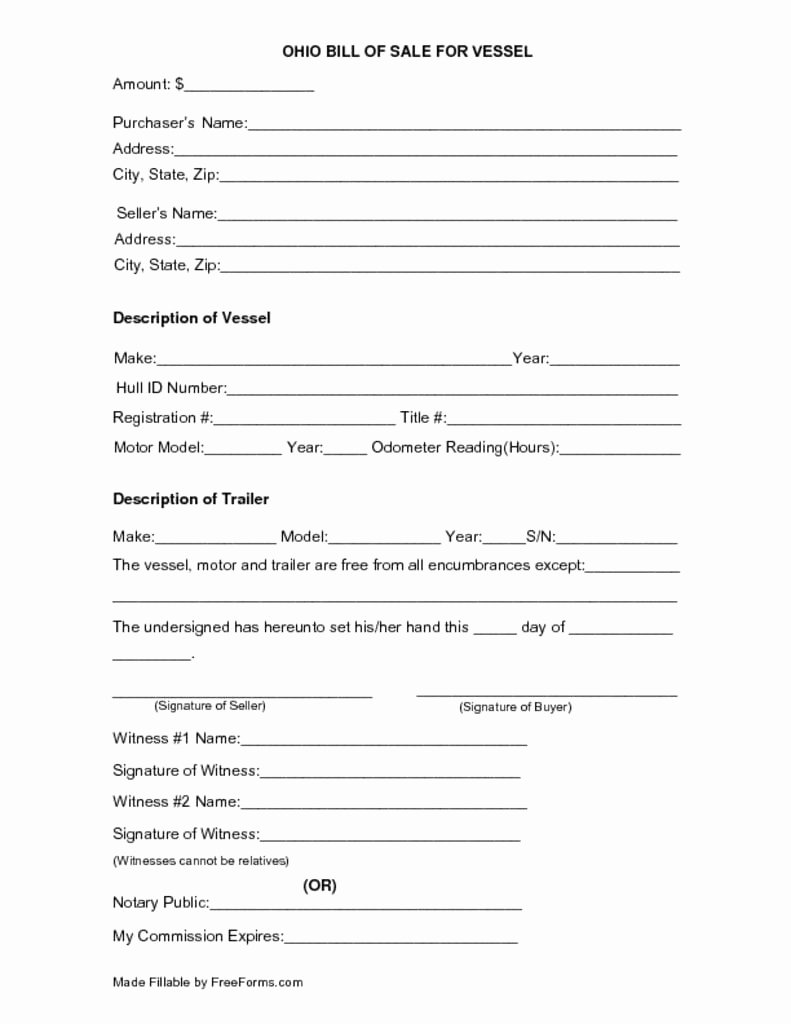 Boat Bill Of Sale form Elegant Free Ohio Boat Vessel Bill Of Sale form