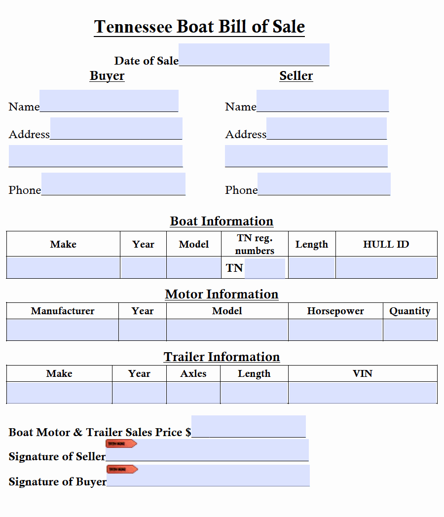 Boat Bill Of Sale form Elegant Free Tennessee Boat Bill Of Sale form