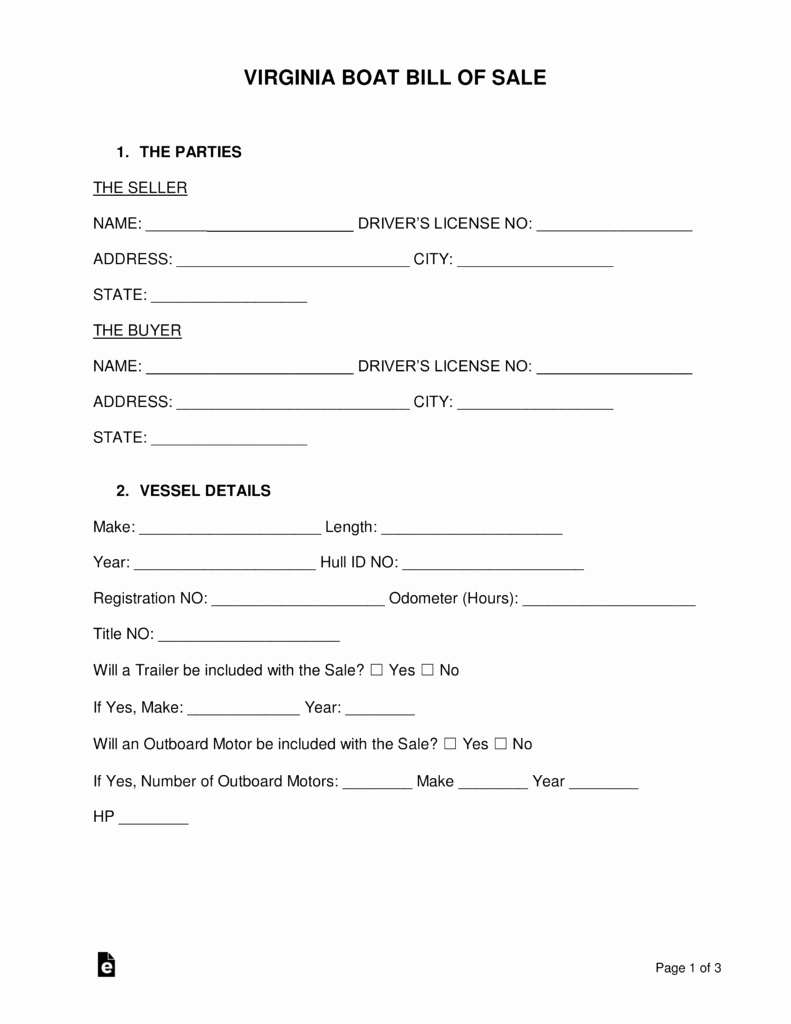 Boat Bill Of Sale form Elegant Free Virginia Boat Bill Of Sale form Word Pdf