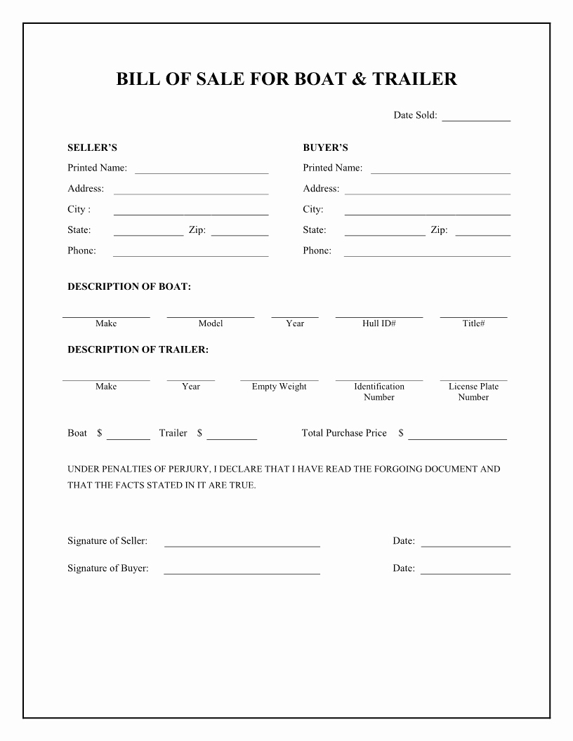 Boat Bill Of Sale form Lovely Boat Bill Sale Free Printable Boat & Trailer Bill Of Sale form Stuff to Buy