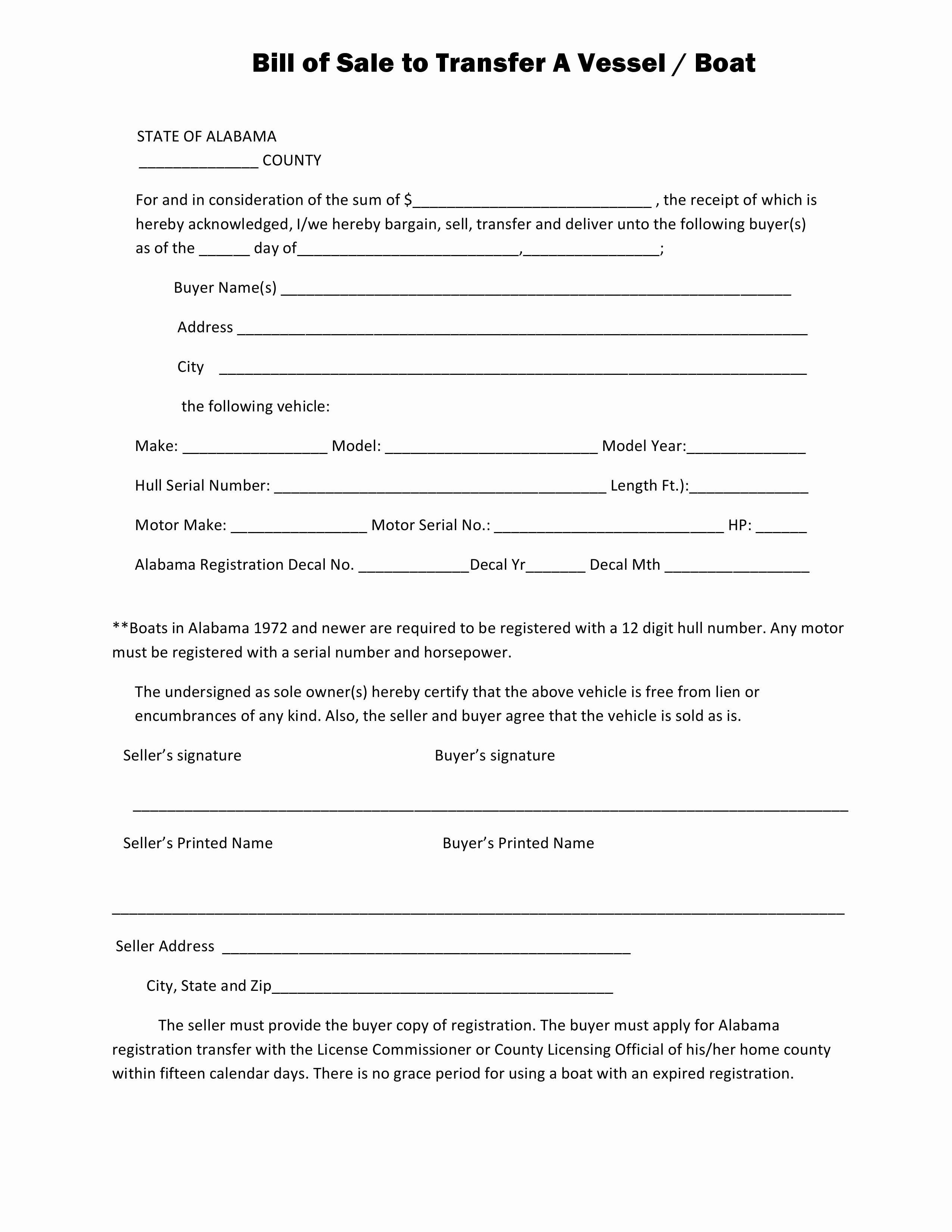 Boat Bill Of Sale form Lovely Free Alabama Boat Bill Of Sale form Pdf