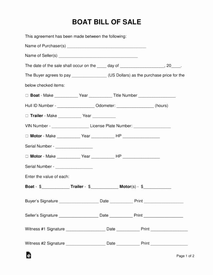 Boat Bill Of Sale form Lovely Used Boat Bill Sale Template