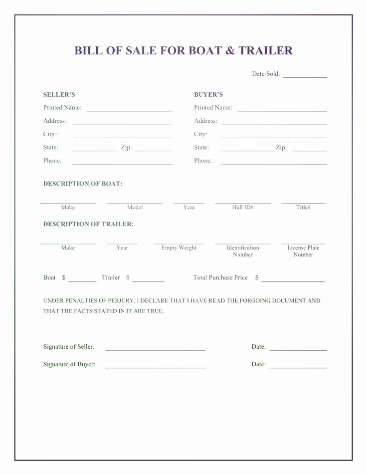 Boat Bill Of Sale form New Pin On Bill Sale Alberta Template