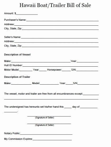 Boat Bill Of Sale form Unique Free Hawaii Boat and Trailer Bill Of Sale form Pdf