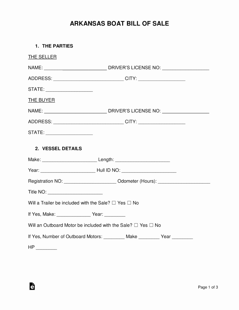 Boat Bill Of Sale Template Awesome Free Arkansas Boat Bill Of Sale form Pdf Word