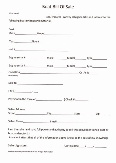 Boat Bill Of Sale Template New Free Printable Boat Bill Sale form Generic
