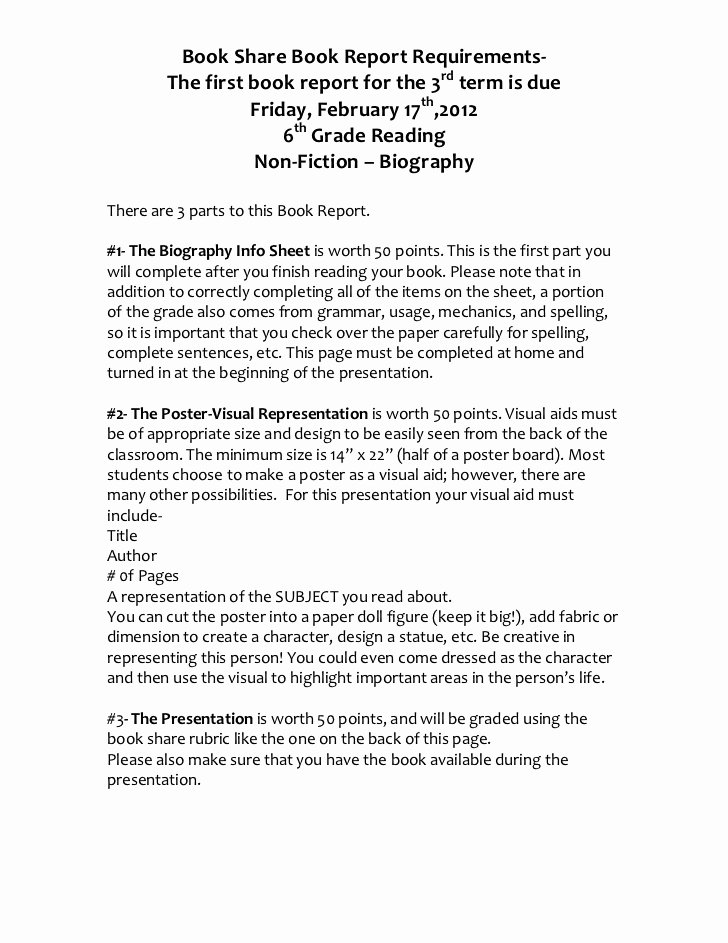 Book Report Examples 5th Grade Awesome Book Share Book Report Requirements